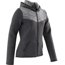 Veste capuche chaude, coton respirant 500 fille GYM ENFANT noir chiné