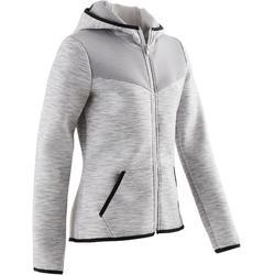 Warm vest met capuchon, ademend katoen 500 meisjes GYM KINDEREN gemêleerd grijs