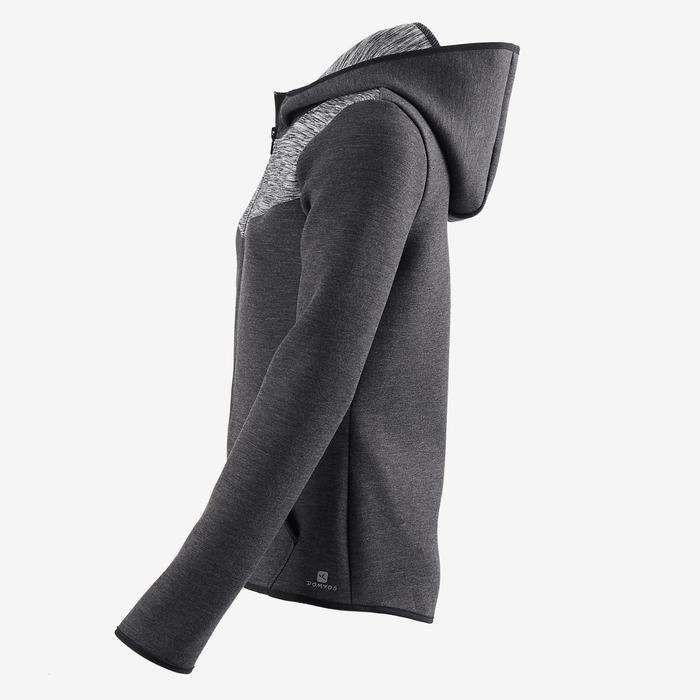 Warm vest met capuchon, ademend katoen 500 meisjes GYM KINDEREN gemêleerd zwart