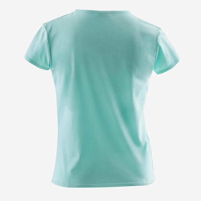 Camiseta Manga Corta Gimnasia Domyos 100 Algodón Niña Azul