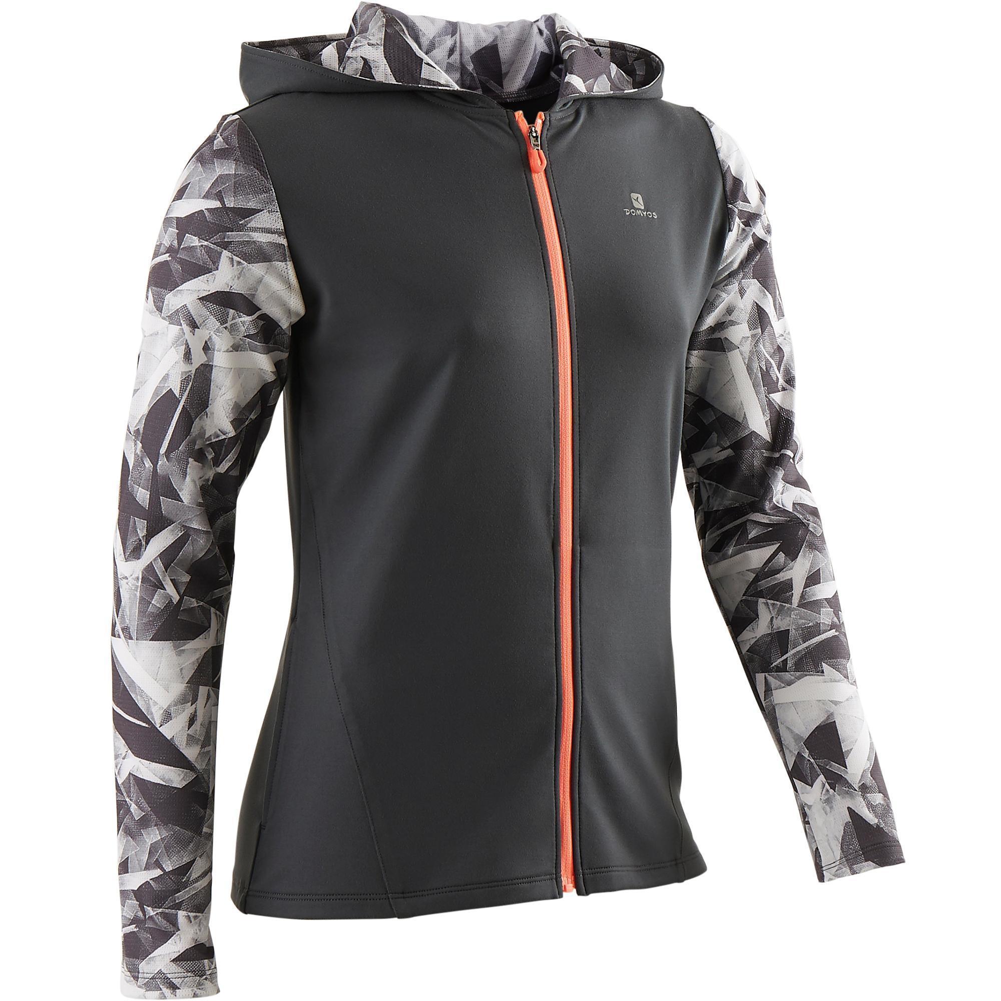 Domyos Gym hoodie met rits S900 voor meisjes grijs met print