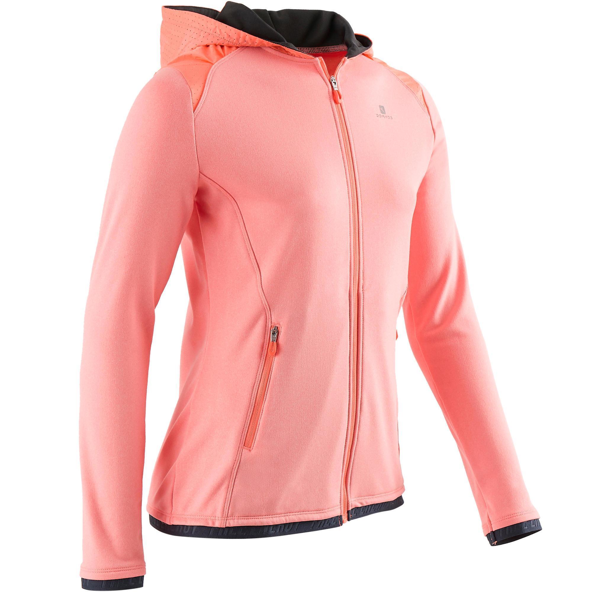 Domyos Gym hoodie met rits S900 voor meisjes koraal