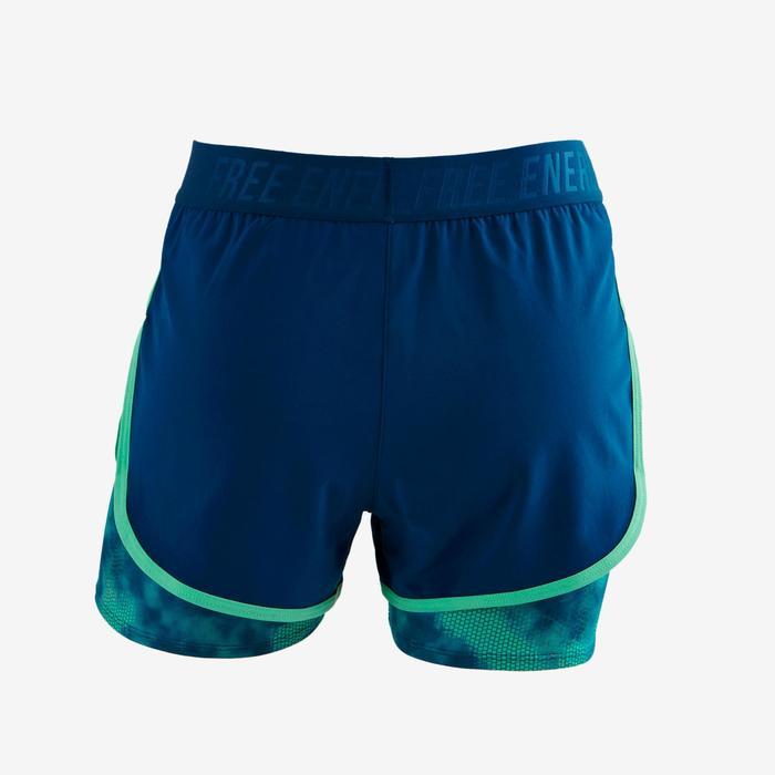Sporthose kurz W900 Gym Kinder grün/blau bedruckt