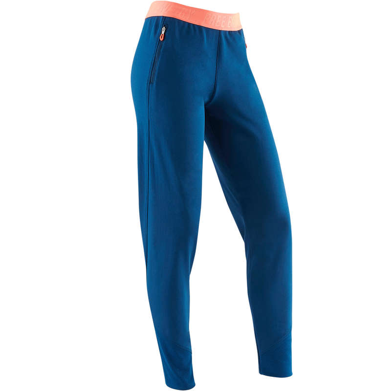 GIRL EDUCATIONAL GYM COLD WEATHER APP Clothing - S900 Slim-Fit Gym Bottoms Blue DOMYOS - Bottoms