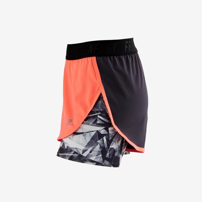 Sporthose kurz W900 Gym Kinder koralle/grau bedruckt