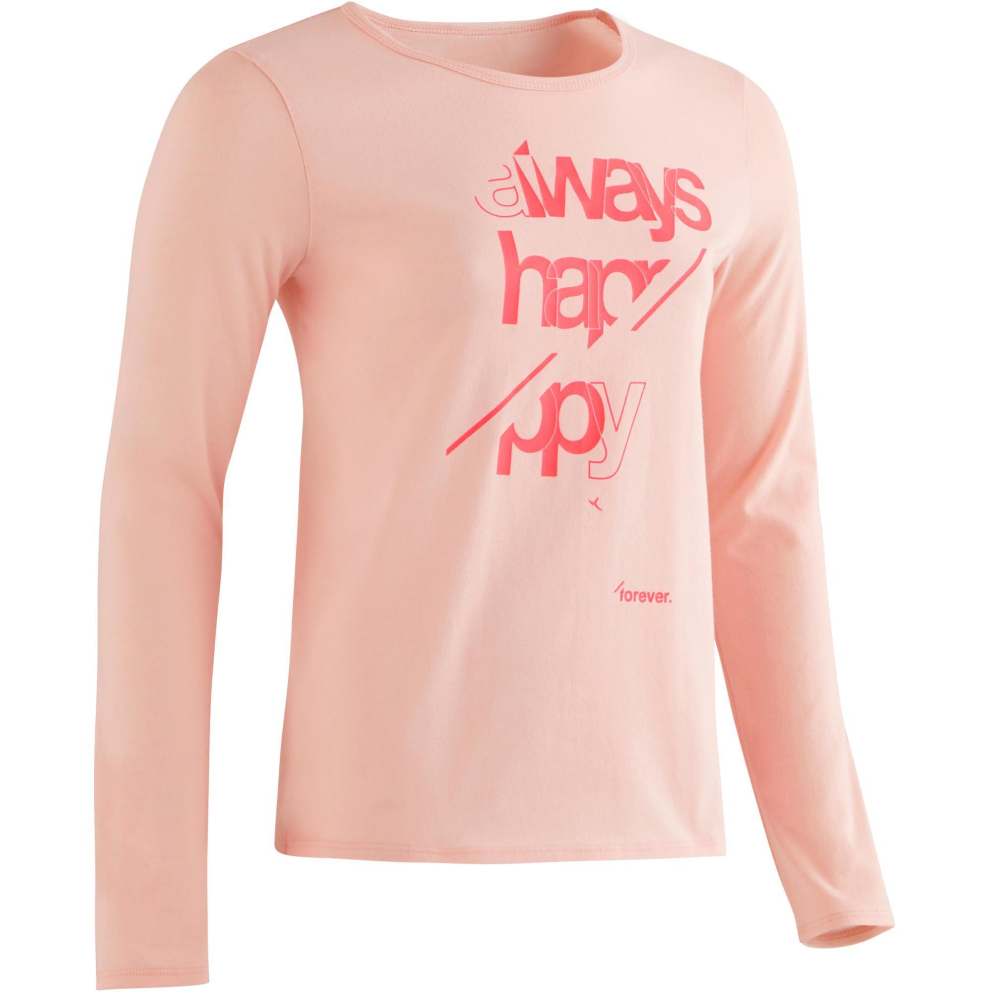 Domyos Gym T-shirt met lange mouwen 100 voor meisjes roze met opdruk