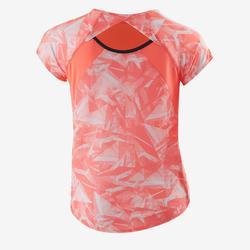 Camiseta de manga corta S900 gimnasia niña estampado coral