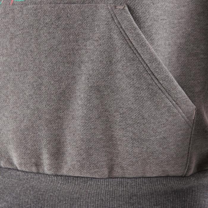 Molton gymhoodie 500 voor meisjes grijs met opdruk