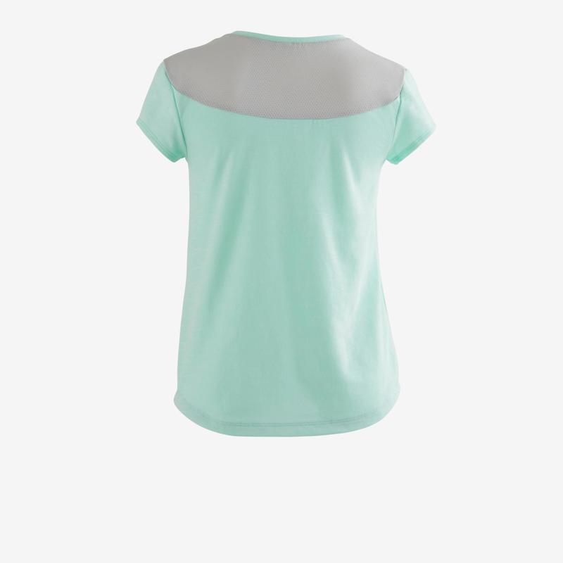 3832f91f8ff Camiseta de manga corta 500 gimnasia niña azul claro | Domyos by ...