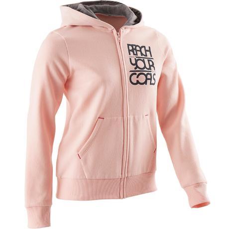Veste molleton 500 Gym fille rose  d1304749f99