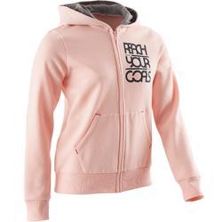 Molton gym hoodie met rits 500 voor meisjes roze