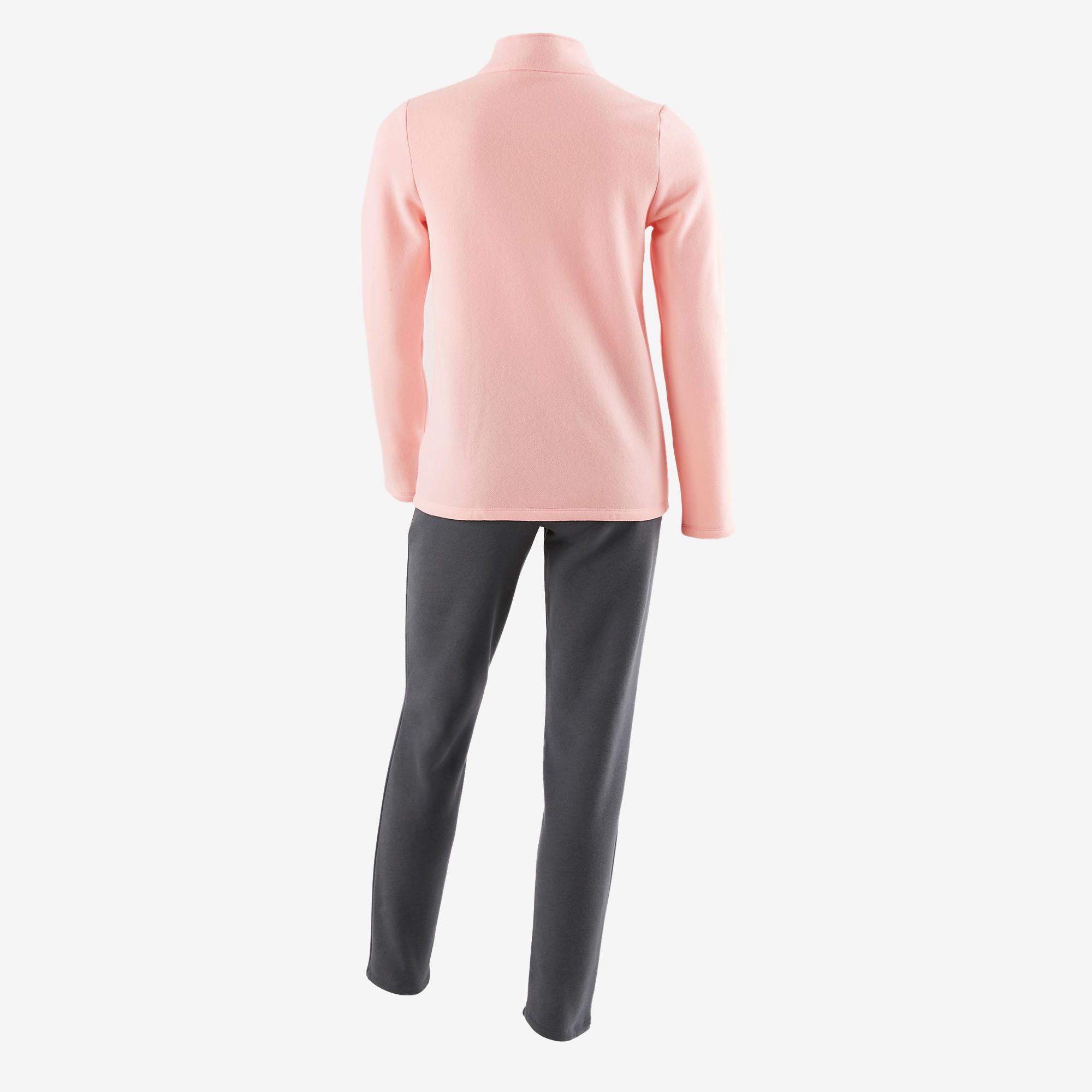 100 Warm'y Girls' Zip-Up Gym Tracksuit - Pink Print