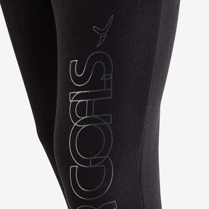 Pantalon molleton 500 Gym fille noir imprimé