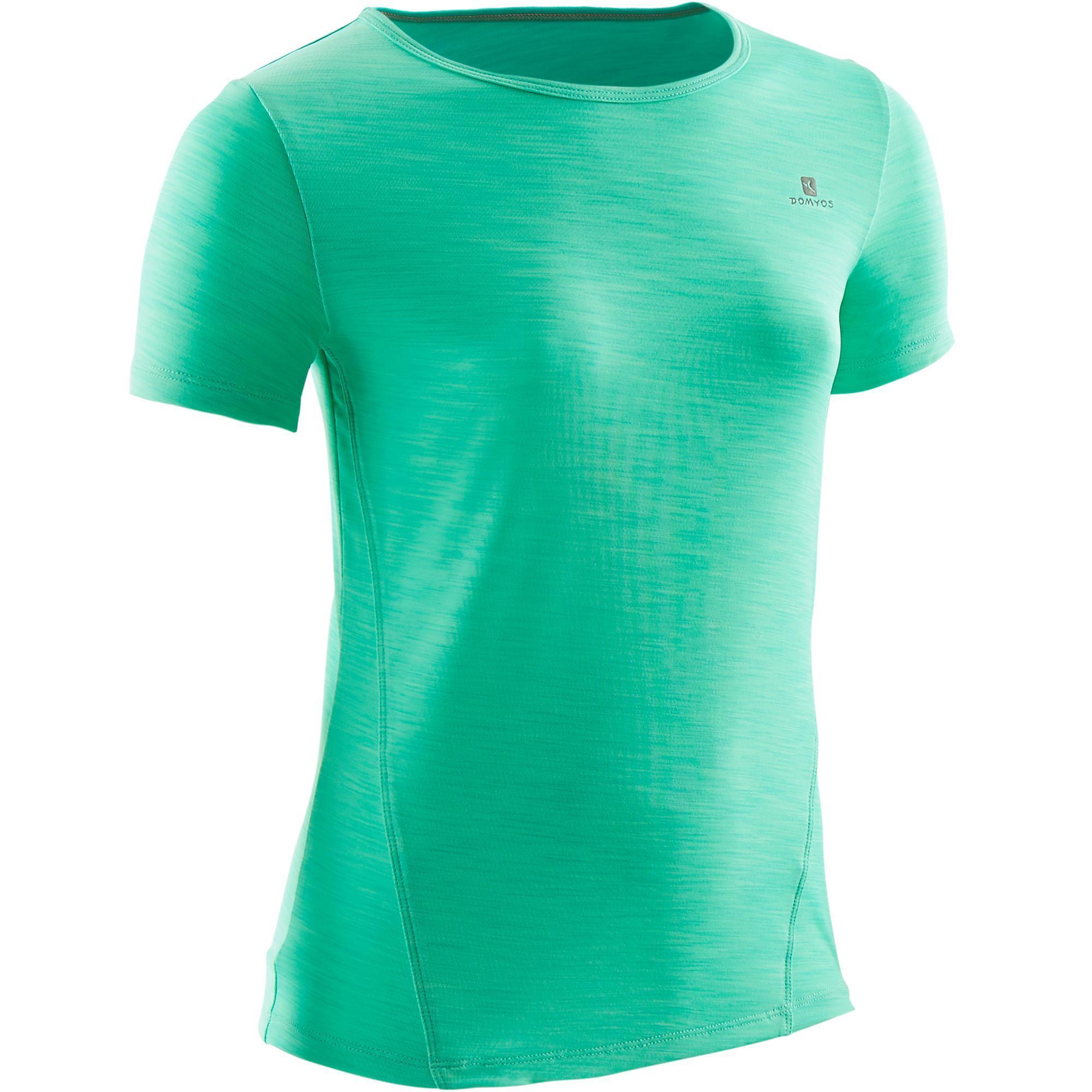 Domyos Gym T-shirt met korte mouwen S500 voor meisjes groen