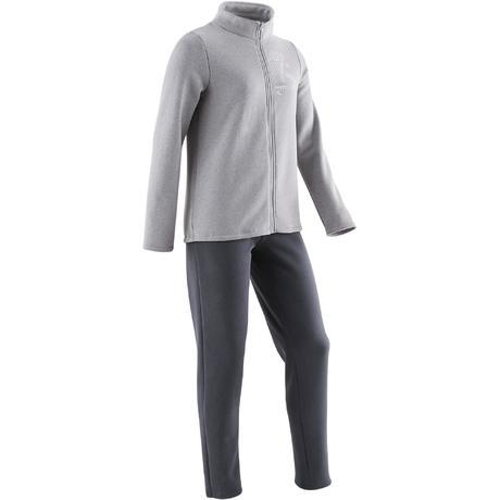 4a316e35d126a Survêtement WARMY'ZIP chaud 100 fille GYM ENFANT gris | Domyos by Decathlon