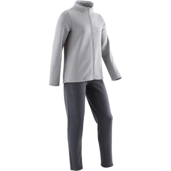 Joggingpak 100 voor gym meisjes grijs print Warm'y Zip