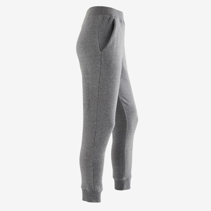 女童針織健身長褲500 - 淺灰色印花