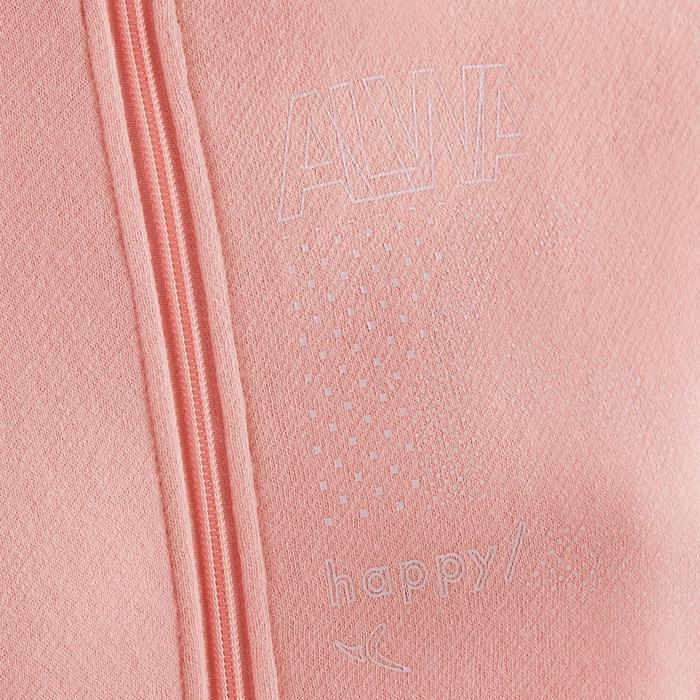 Gym joggingpak 100 voor meisjes roze met opdruk Warm'y Zip