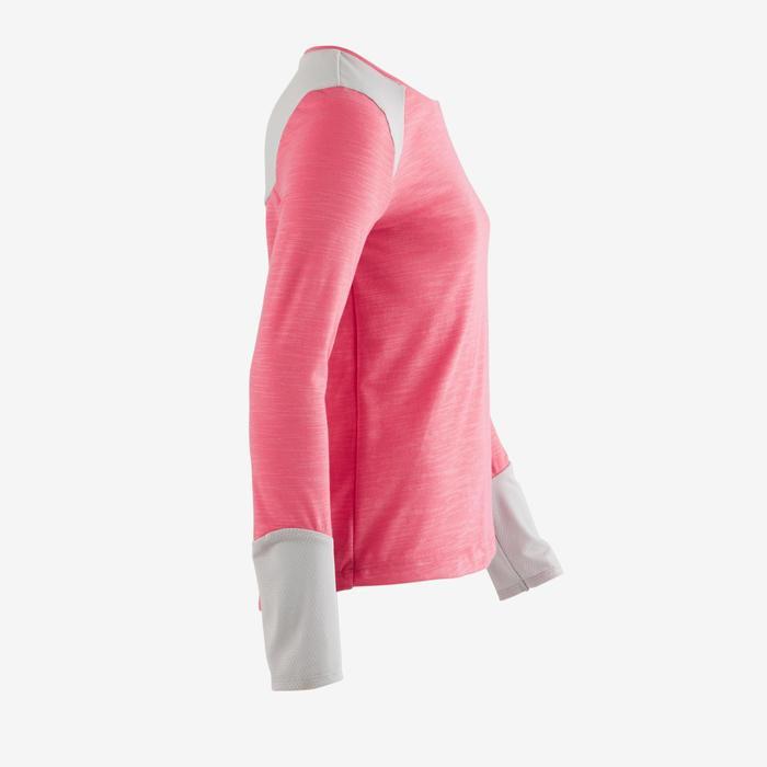 Camiseta de manga larga 500 gimnasia niña rosa