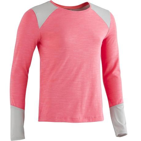 Girls long sleeved gym t shirt pink domyos by decathlon