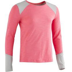 Gym T-shirt met lange mouwen 500 voor meisjes roze