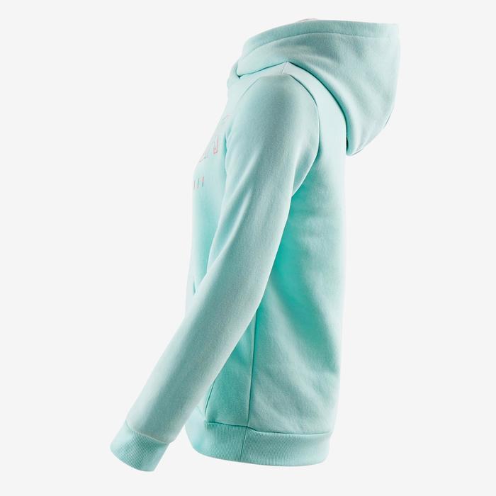 Sweat molleton 500 Gym fille bleu imprimé