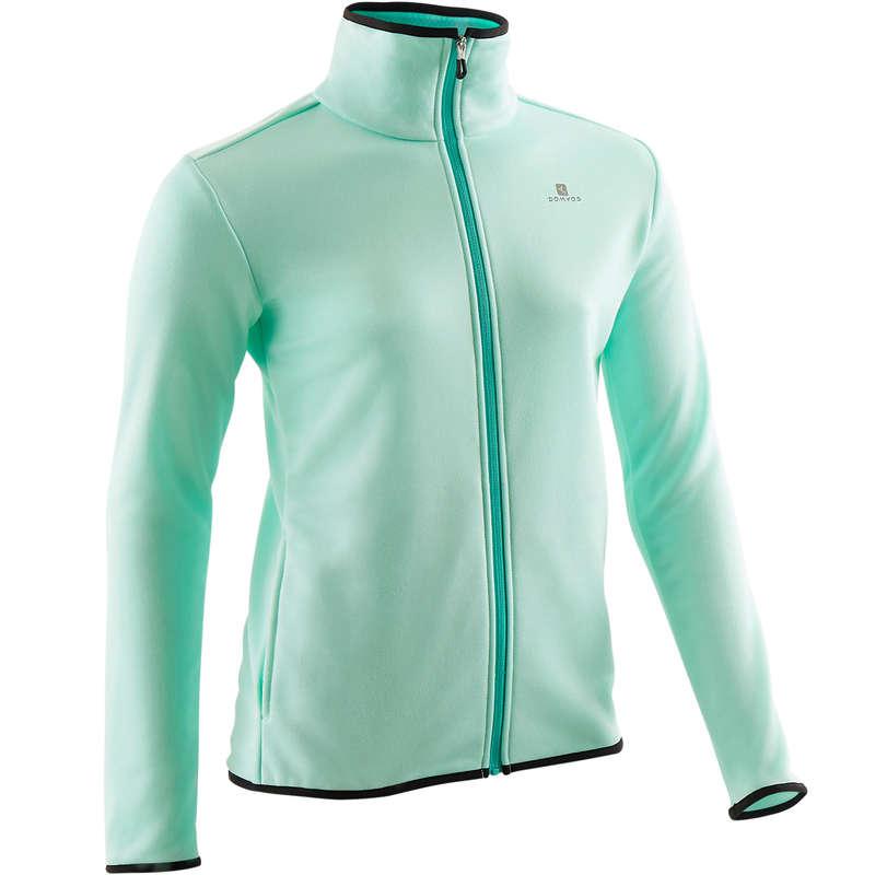 ODZIEŻ GIMNASTYCZNA CIEPŁA DLA DZIEWCZYNEK Gym, pilates - Bluza S500 zielona DOMYOS - Fitness