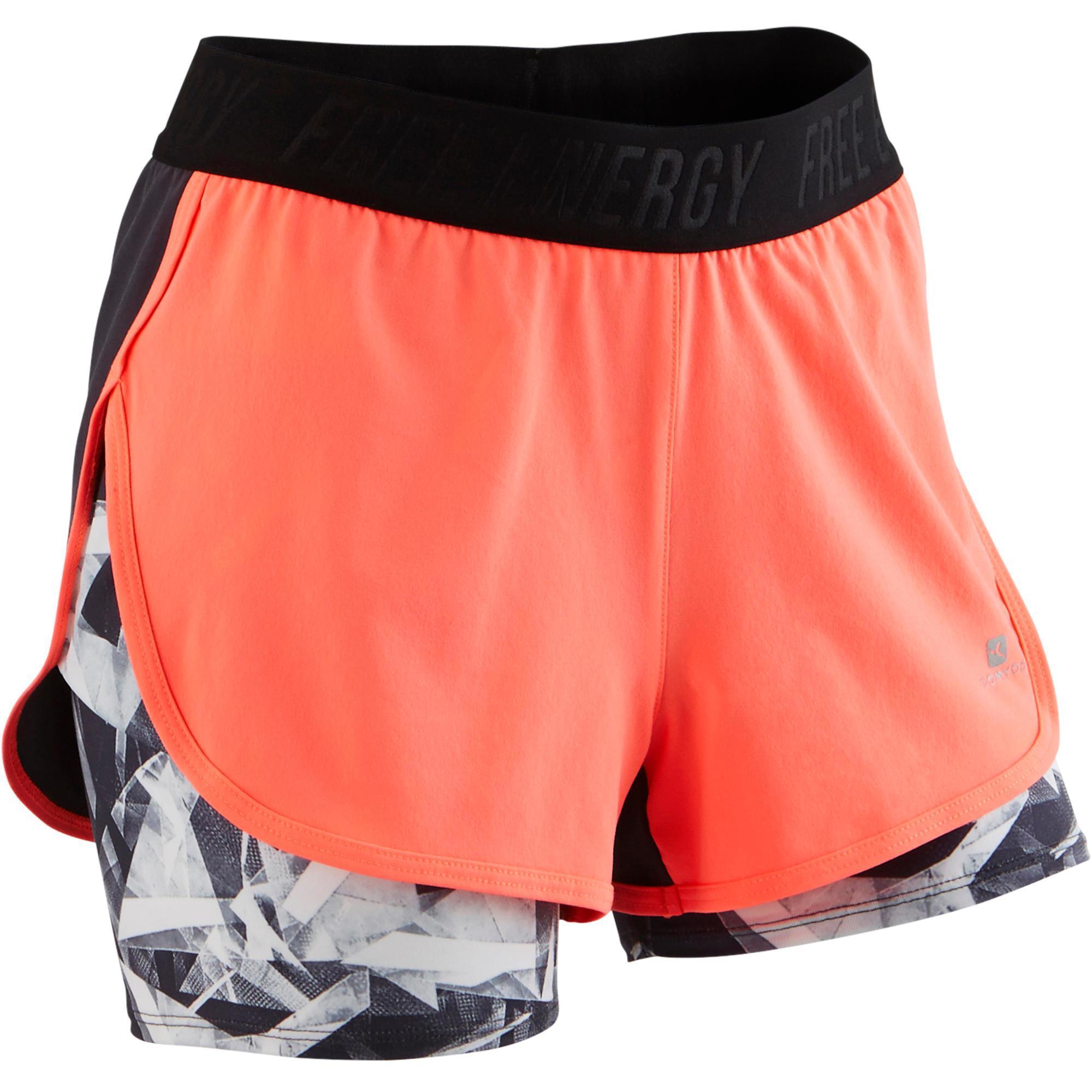 Kinder Sporthose kurz W900 Gym Kinder koralle grau bedruckt | 03608419173192