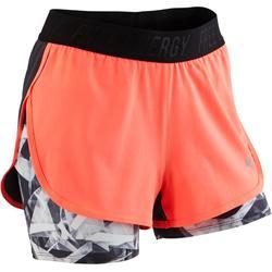 Gymshort W900 voor meisjes print koraal grijs