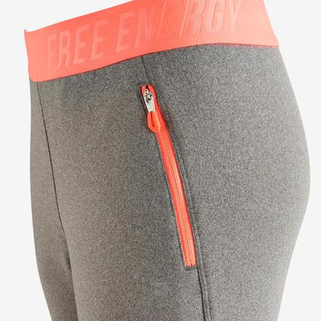 abce0968f444ab S900 Girls' Slim-Fit Gym Bottoms - Grey | Domyos by Decathlon