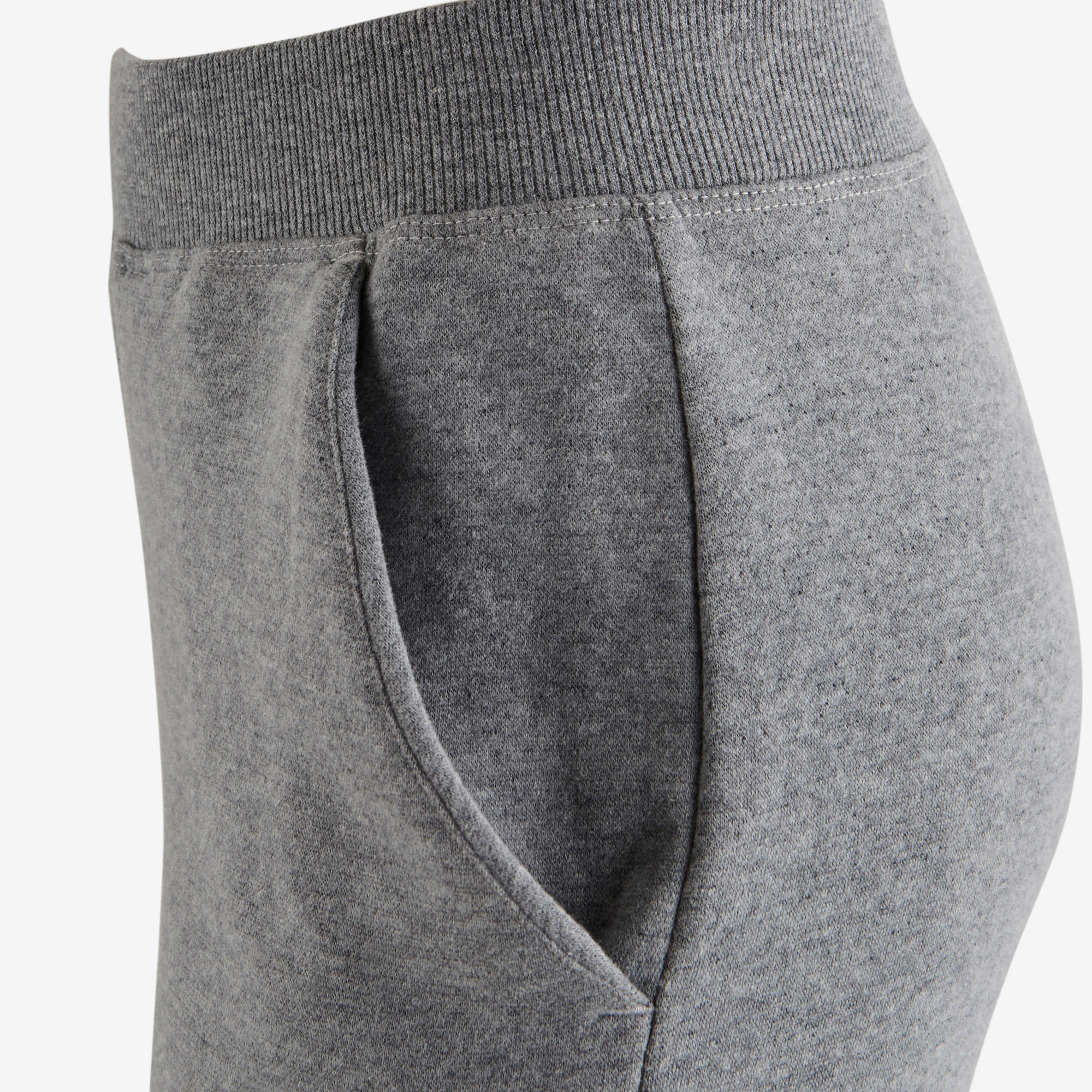 500 Girls' Jersey Gym Bottoms - Light Grey Print