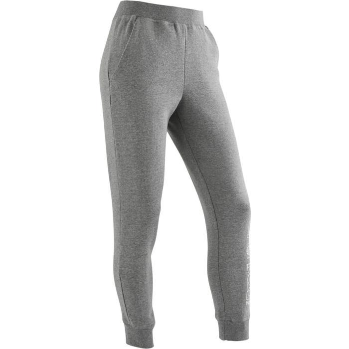 Pantalon molleton 500 Gym fille gris clair imprimé