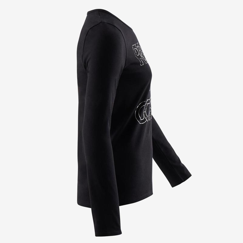 ec4fb268de4 Dívčí tričko s dlouhým rukávem 100 černé s potiskem