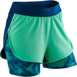 Gymshort W900 voor meisjes print groen blauw