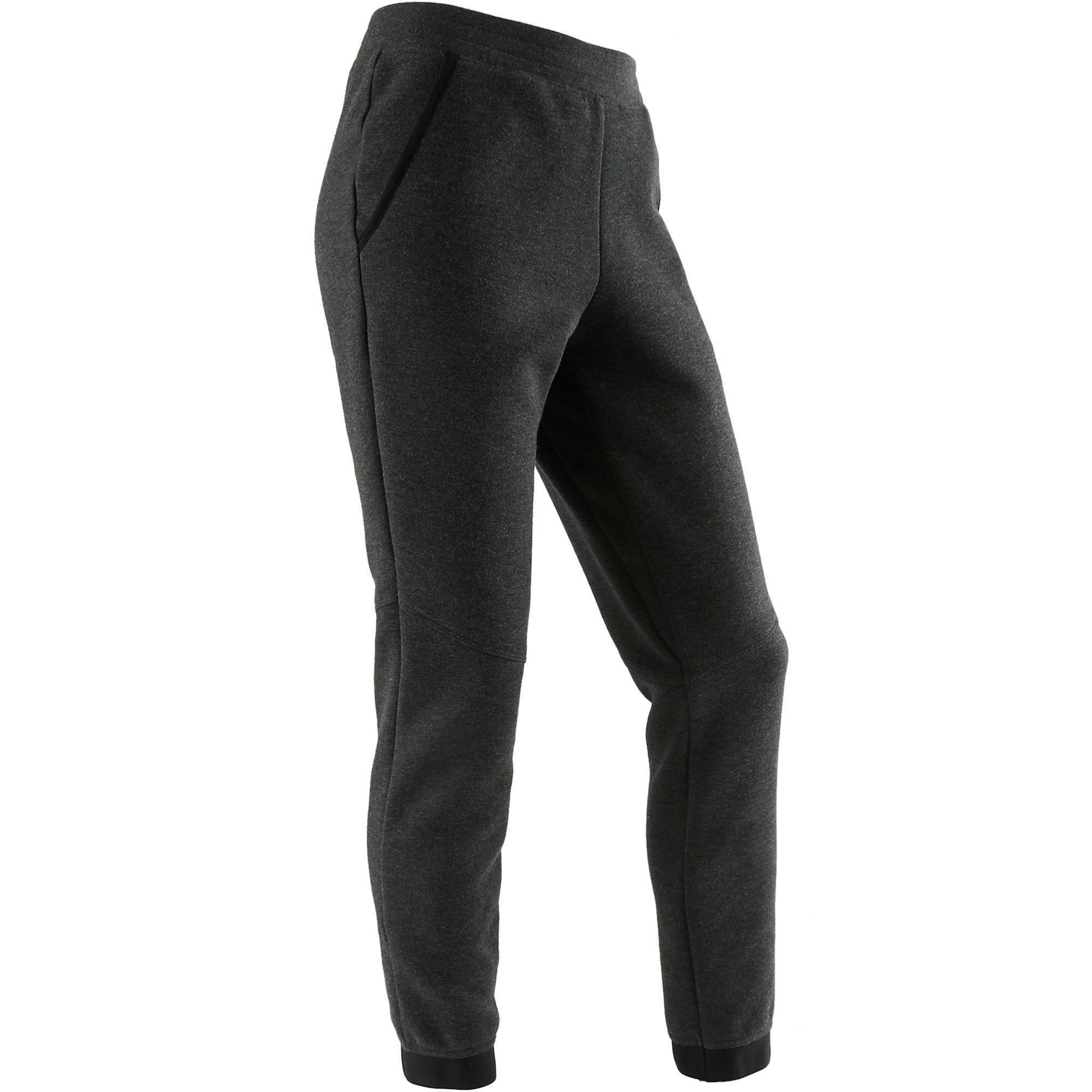 Pantalón cálido slim algodón transpirable 500 niña GIMNASIA JÚNIOR gris oscuro j