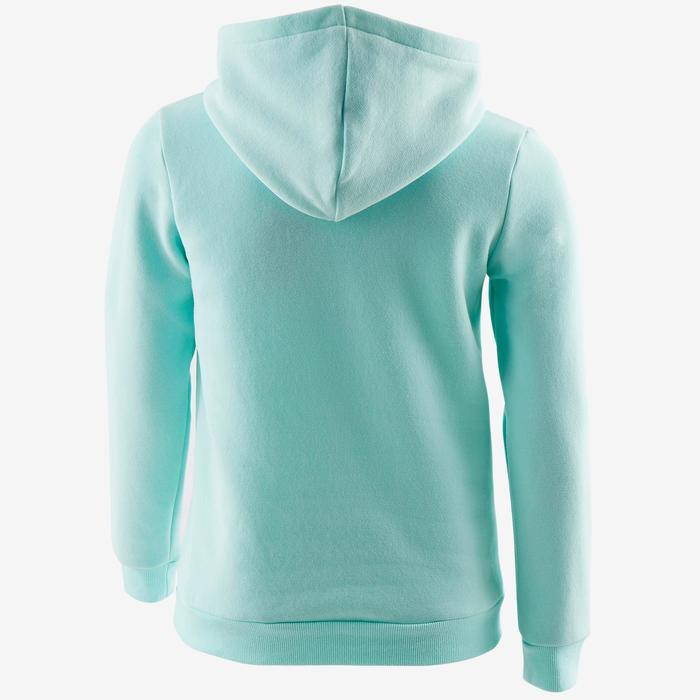 Molton gym hoodie 500 voor meisjes blauw met print