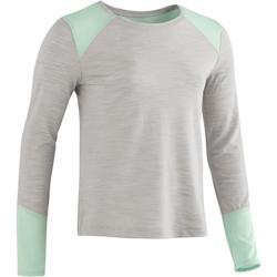 Gym T-shirt met lange mouwen 500 voor meisjes grijs