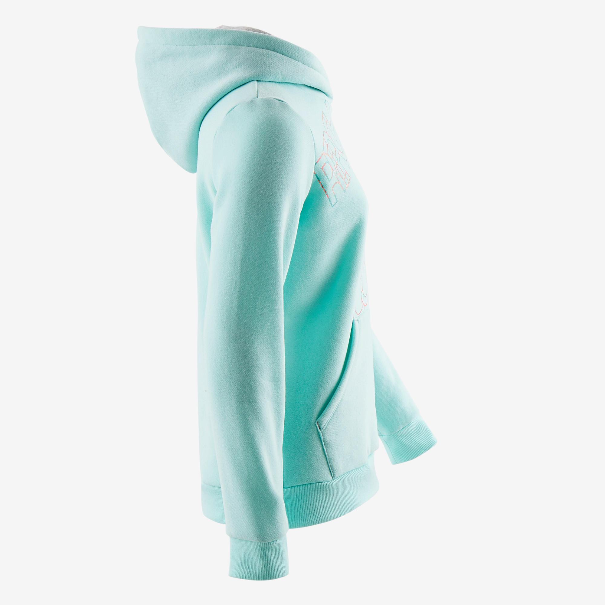 500 Girls' Jersey Gym Sweatshirt - Printed Blue