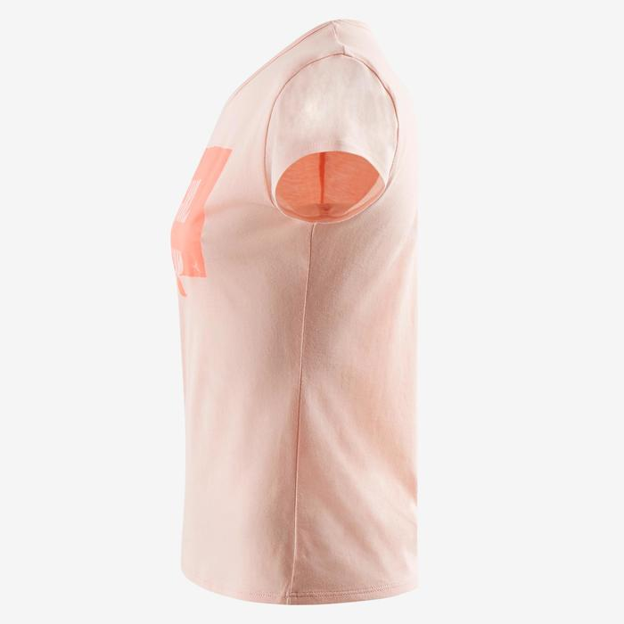 Camiseta manga corta 100 gimnasia niña rosa estampado