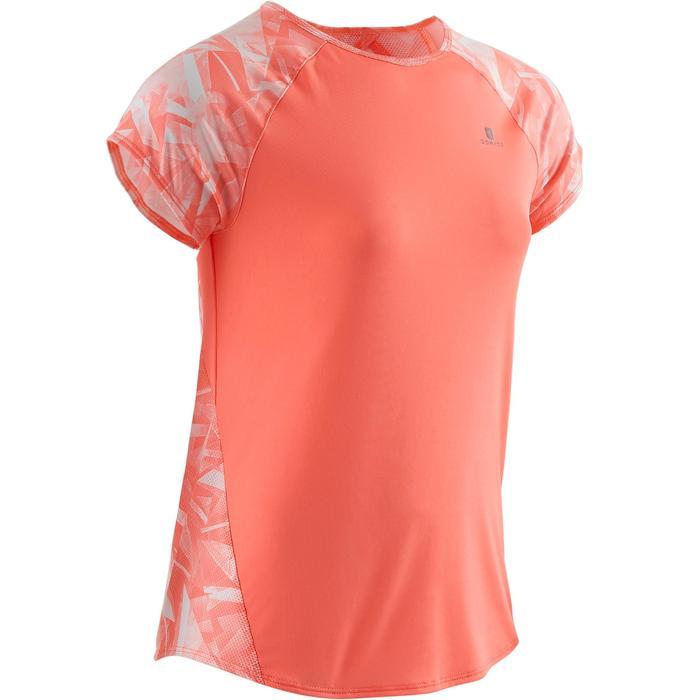 Gym T-shirt met korte mouwen S900 voor meisjes print koraal