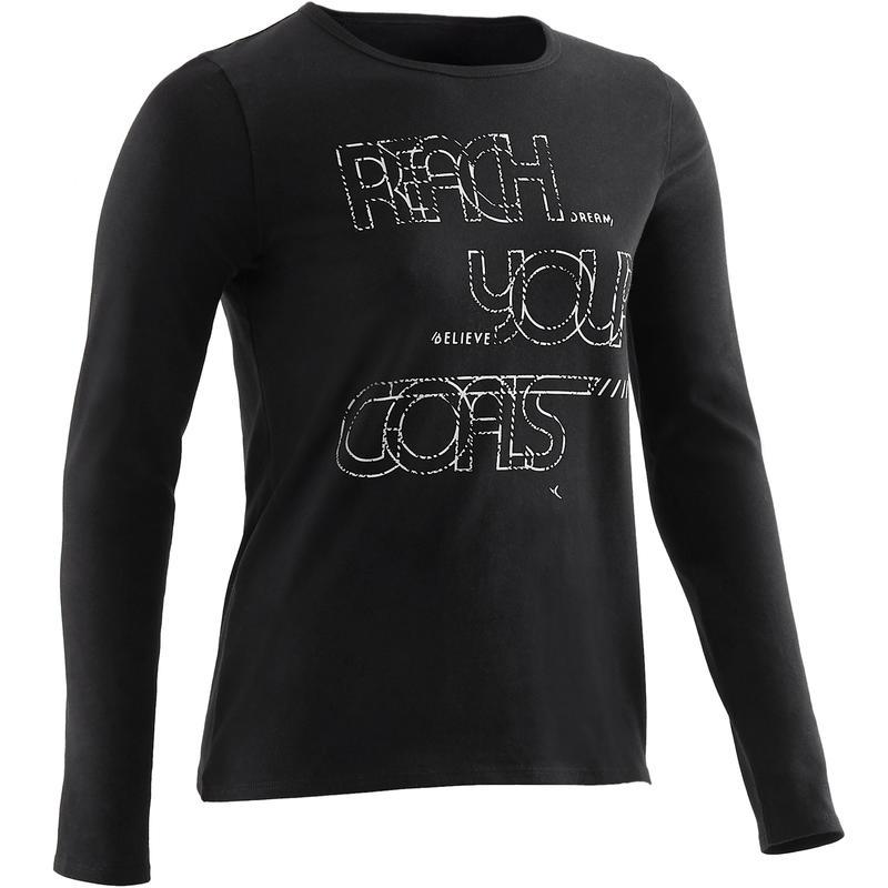 Dívčí tričko s dlouhým rukávem 100 černé s potiskem  5e6b030608