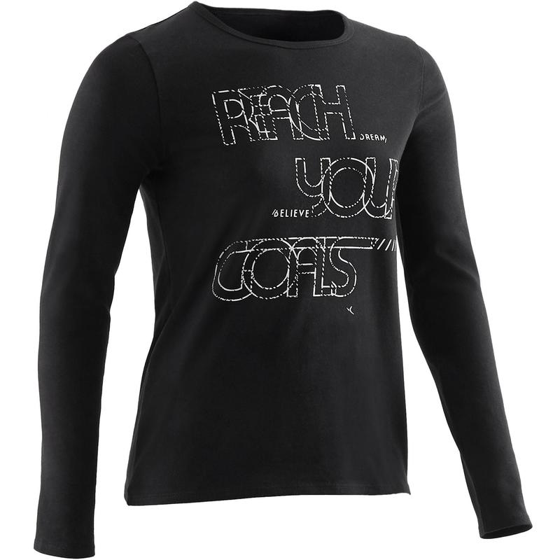 462657d8b4 Lány hosszú ujjú póló tornához, fekete mintás   Domyos by Decathlon