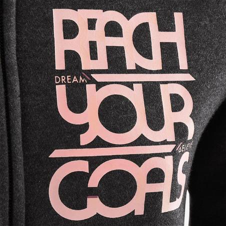 500 Girls' Brushed Jersey Gym Jacket - Grey