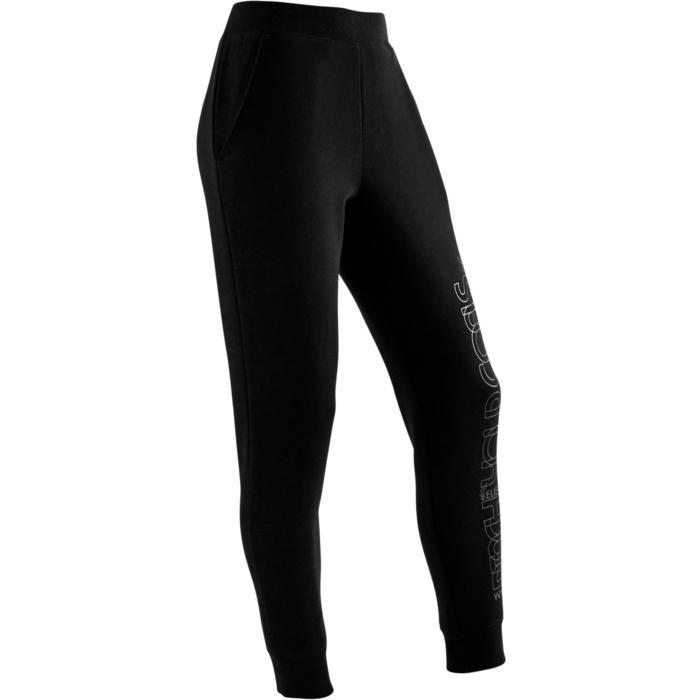 Molton gymbroek 500 voor meisjes zwart met print