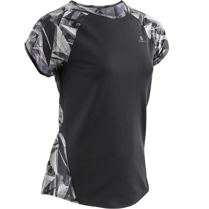 Gym T-shirt met korte mouwen S900 voor meisjes print grijs