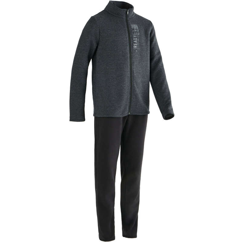 BOY EDUCATIONAL GYM COLD WEATHER APP - 100 Boys' Gym Tracksuit - Grey DOMYOS