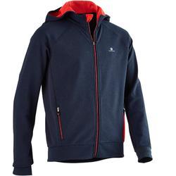 男童健身連帽運動衫900 - 藍色/紅色