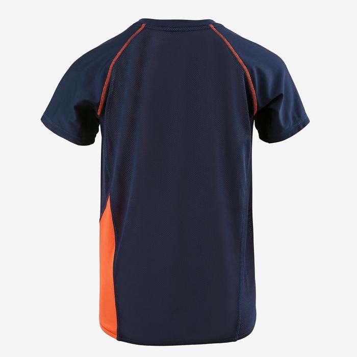 Camiseta de manga corta slim S900 gimnasia niño azul estampado
