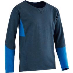 男童健身長袖T恤500 - 藍色