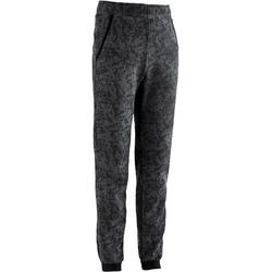 男童刷毛健身長褲500 - 灰色印花